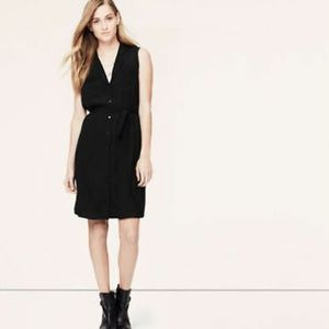 LOFT Black Slouchy Sleeveless Shirt Dress